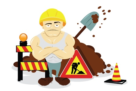cartoon building: a vector cartoon representing some works in progress and a worker