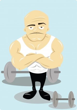 bicep curls: a vector cartoon representing a funny personal trainer Illustration