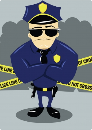 A vector cartoon representing a policeman at a crime scene