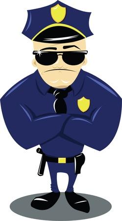 een vector cartoon die een grappige politieman op wit wordt geïsoleerd