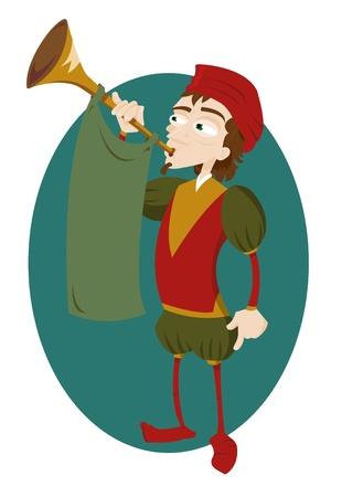 a vector cartoon representing a funny herald playing a trumpet  Illustration