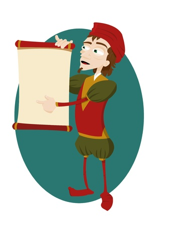 herald: a vector cartoon representing a funny herald showing a scroll with copy space
