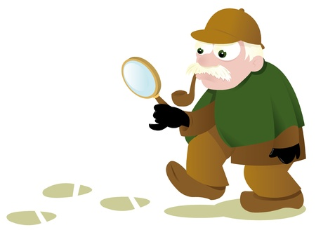 a vector cartoon representing a funny investigator following some tracks Stock Vector - 21759928