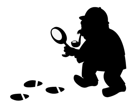 a vector cartoon representing a funny investigator silouette, following some foot prints