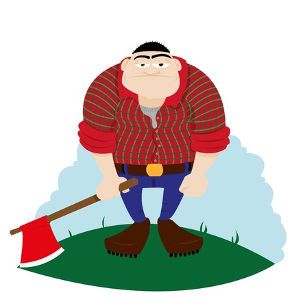 logger: a vector cartoon representing a funny logger, looking at camera and holding an axe