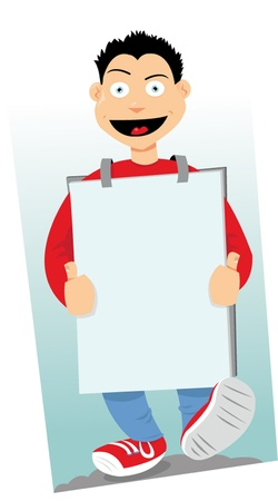 a vector cartoon representing a sandwichman walking and wearing a sign with copyspace Stock Vector - 21759931