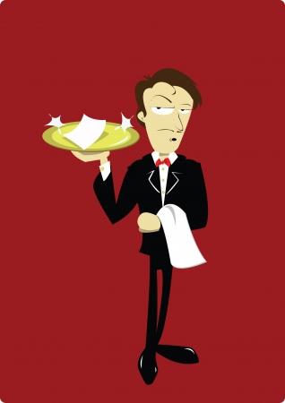 high society: Funny Waiter Illustration