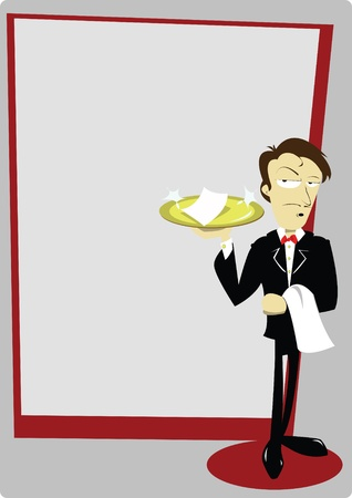 bar counter: a vector cartoon representing a funny sommelier with copy space Illustration