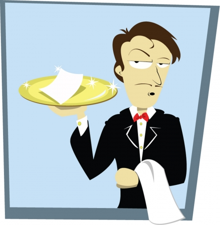 paying bills: a vector cartoon representing a funny sommelier serving a bill