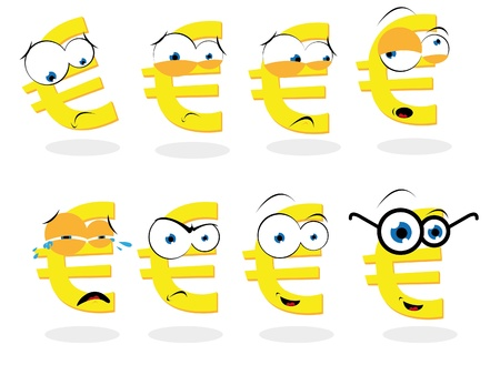 a vector cartoon representing a funny euro symbol in different poses Stock Vector - 21759939
