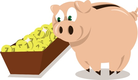 A Piggy Bank eating some coins  Vector