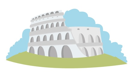 social history: a vector illustration representing the Roman Colosseum in pastel tones