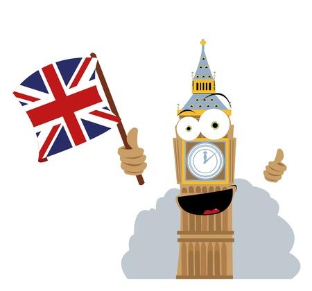un vector de dibujos animados que representa un Big Beg divertido con una bandera de Inglés Ilustración de vector