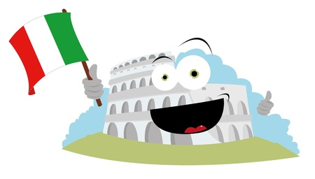 a vector cartoon representing a funny Colosseum holding an Italian flag and smiling