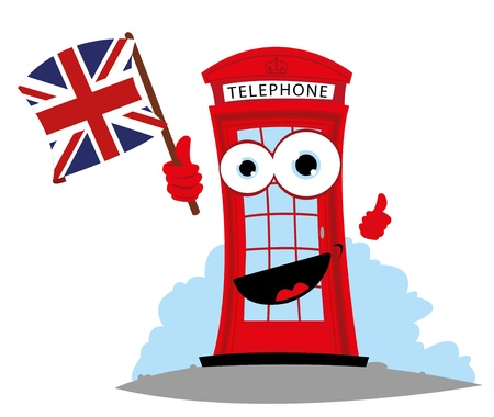 cartoon representing a funny English Telephone, holding an English flag