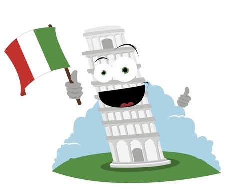 singly: a vector cartoon representing a funny leaning tower of Pisa - every object is singly grouped Illustration