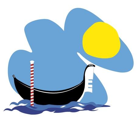 a vector cartoon representing a Venetian gondola floating in the sea