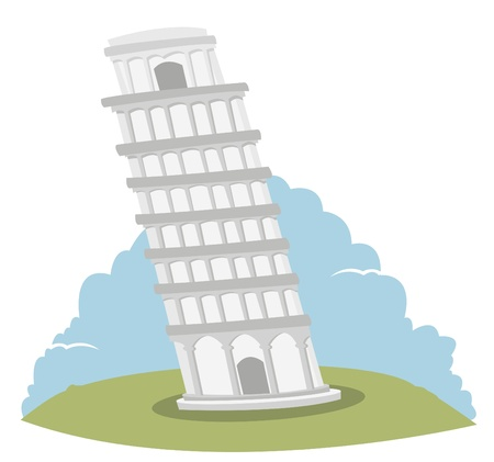 leaning tower of pisa: a cute vector illustration representing the leaning tower of Pisa   Illustration