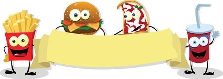 prepared potato: Fast Food Banner Illustration
