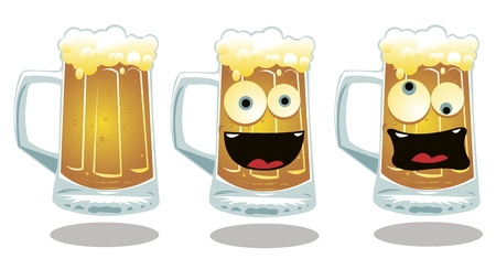 anthropomorphic: a vector cartoon representing 3 different kind of a glass of beer: a serious, a smiling and a drunk one