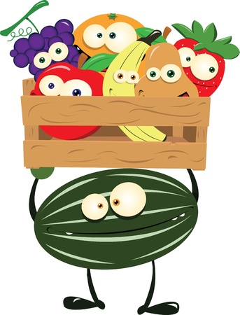 wooden box: a vector cartoon representing a funny watermelon, carrying a wooden box full of fruits