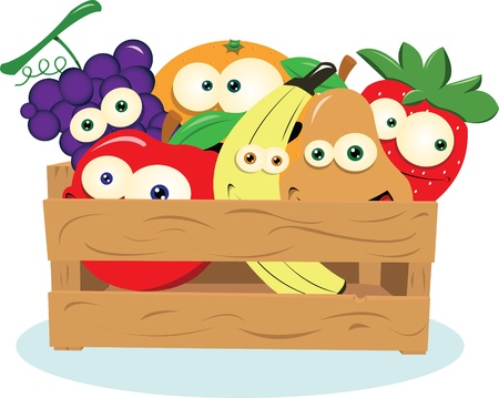 a vector cartoon representing some funny fruit in a wooden box