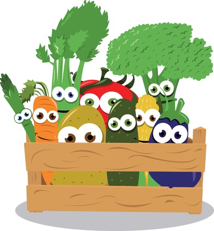a vector cartoon representing some funny vegetables in a wooden box