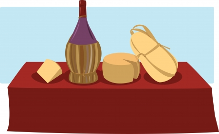 chianti: a vector cartoon representing some italian cheese and a bottle of chianti Illustration