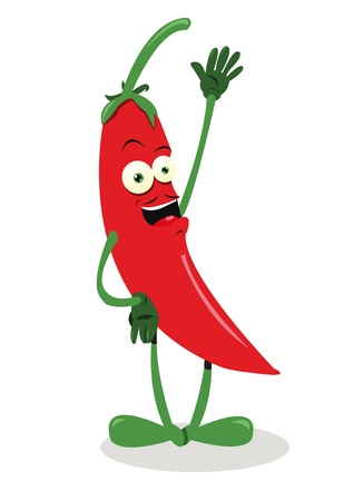 a vector cartoon representing a funny red hot chili pepper - moustaches and shadow are on different layers, so you can easily remove the if you want    Vector