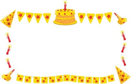 a vector cartoon representing a funny frame maiden of a birthday equipment Stock Vector - 21769508