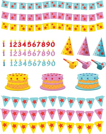 A vector cartoon, representing a birtday kit: cakes, candles, flags and paper caps Vector