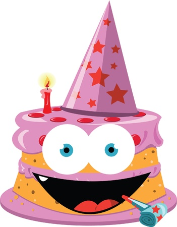 a vector cartoon representing a funny cake with girly colours   Stock Vector - 21792778