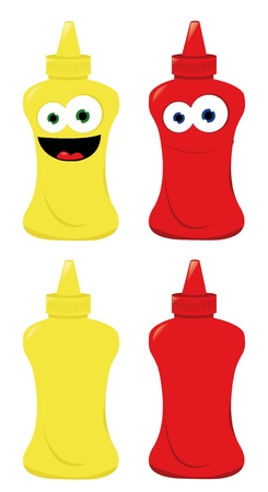 a vector cartoon representing some normal and funny mustard and ketchup