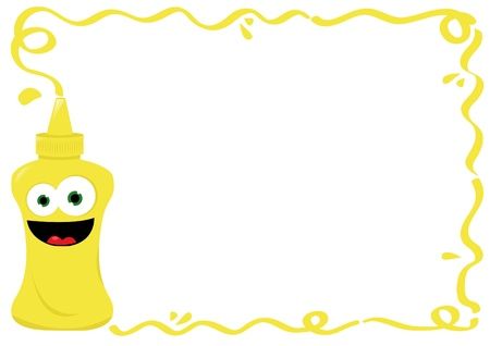 a vector cartoon representing a funny mustard smiling in a empty frame-useful for menus Illustration