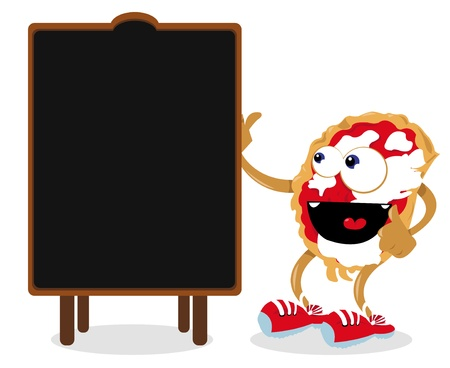 a vector cartoon representing a funny pizza and a blank blackboard,useful for menus   Stock Vector - 21792782