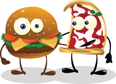 A funny meal couple   Illustration