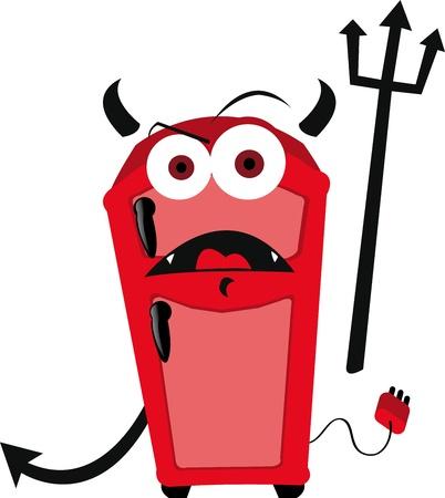 a vector cartoon representing a funny evil fridge  Çizim
