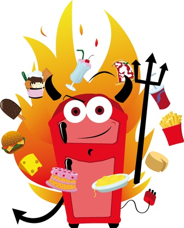 a vector cartoon representing a funny fridge and his temptations