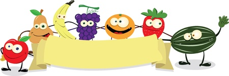 banana caricatura: un vector de dibujos animados que representa a un grupo divertido de las frutas manteniendo una bandera en blanco