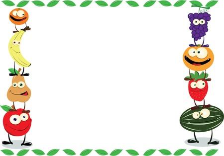 frutas divertidas: un vector divertido marco Maden de fruta agradable