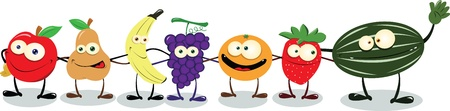 A group of funny friendly fruit