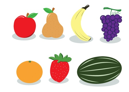 a vector cartoon representing a group of different kind of fruits Illustration