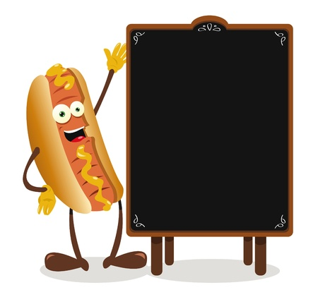 a vector cartoon representing a funny hotdog and a blackboard with copy space Stock Vector - 21943010