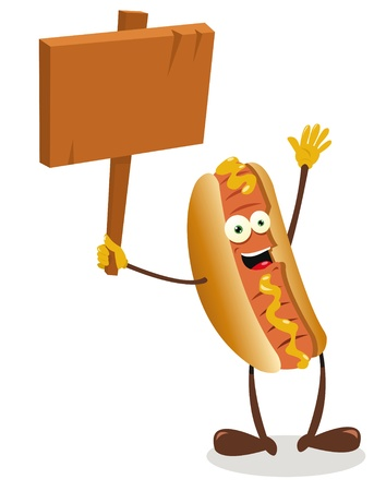 a vector cartoon representing a funny hot dog holding a blank wooden sign Stock Vector - 21943009