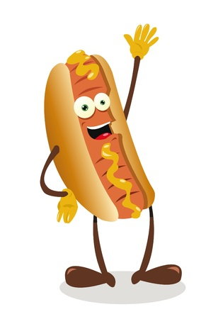 a vector cartoon representing a funny hot dog
