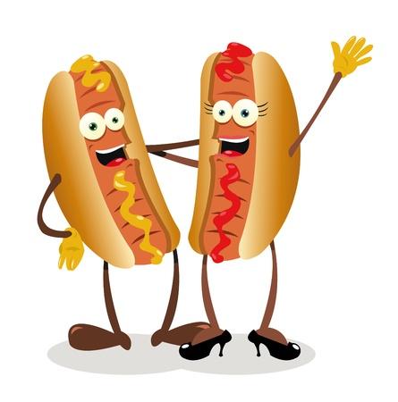 mujer perro: un vector de dibujos animados que representa un par de hot dogs Vectores