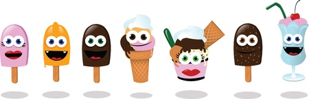 a vector cartoon representing 6 different kind of ice creams and a milk shake Vector