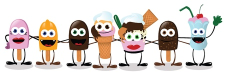 a vector cartoon representing some funny ice creams in a collective hug Vector