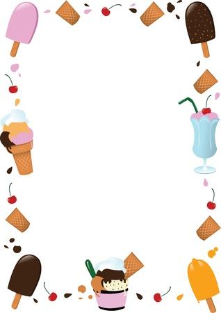 sorbet: un marco de helados, con copia espacio