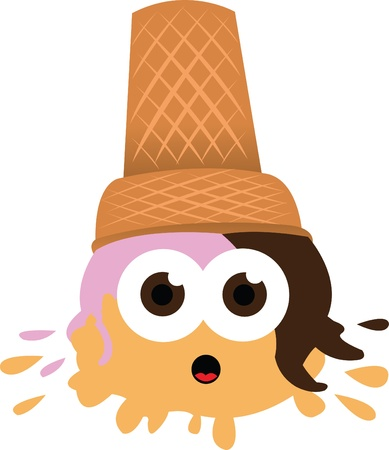 anthropomorphic: a vector cartoon representing a funny ice cream fallen to the ground   Illustration